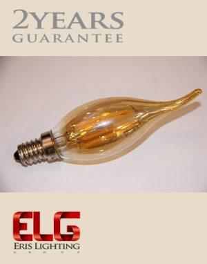 لامپ لوستر شیشه شامپاینی لامپ فیلامنتی لوستری 4W شیشه شامپاینی