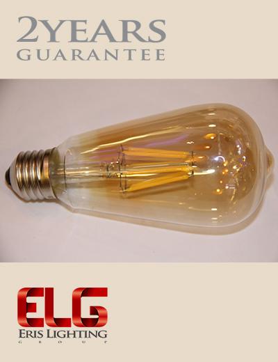لامپ فیلامنتی گلابی ST64 6W شیشه شامپاینی