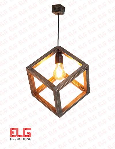 چراغ آویز چوبی هندسی مدل M10
