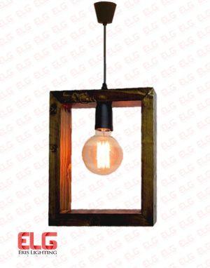 چراغ آویز چوبی مربعی