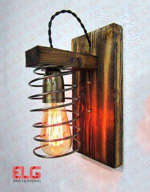 چراغ دیواری چوبی فلزی فنری