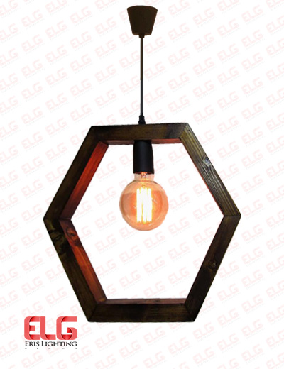 چراغ آویز چوبی 6 ضلعی