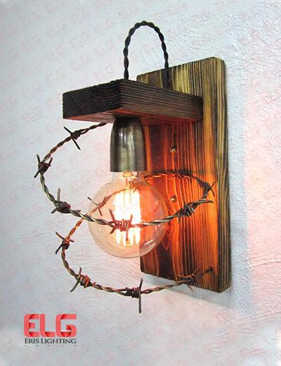 چراغ دیواری چوبی مدل سیم خاردار