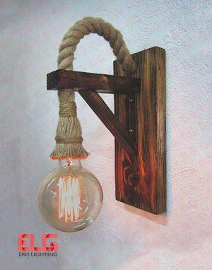 چراغ دیواری چوبی کنفی لامپ خور