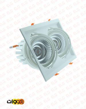 قاب توکار مربعی 2×1 اکووات مخصوص لامپ ar111