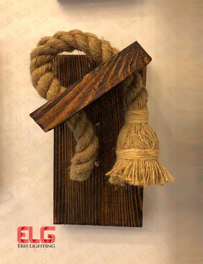 دیواری چوبی کنفی لامپ خور