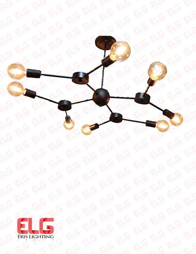 لوستر مولکولی 8 شعله فلزی مدل RA10107