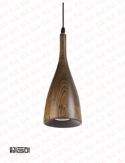 چراغ آویز تمام چوبی با لامپ انگاره مدل ASA 1