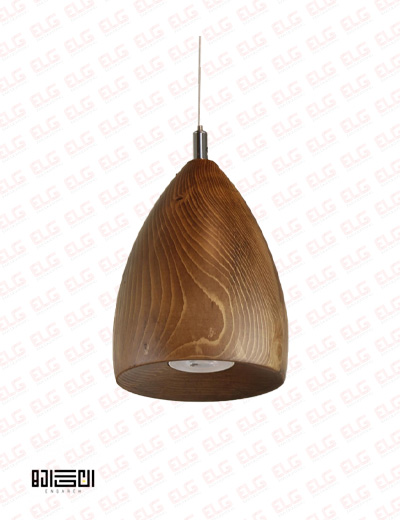 چراغ آویز انگاره چوبی لامپ دار مدل سرو 2