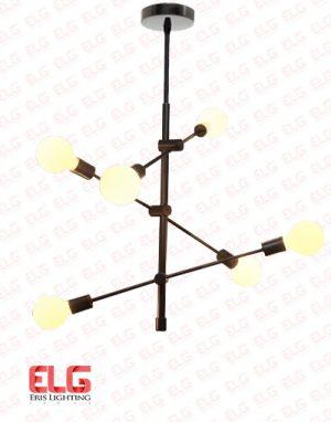 چراغ آویز فانتزی میله ای فلزی 6 شعله مدل Ra 1012