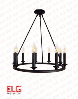 لوستر مدرن سرپیچ شمعی فلزی 9 شعله رینگی کد RA10129