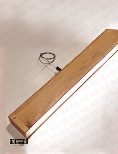 چراغ خطی آویز انگاره چوبی لامپ دار مدل ماهان 1